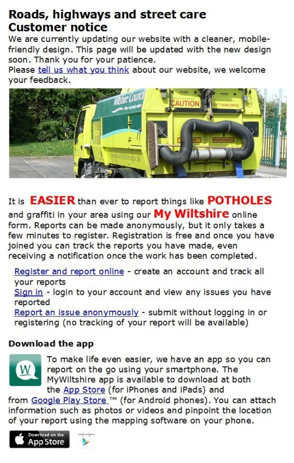 Potholes council edited use